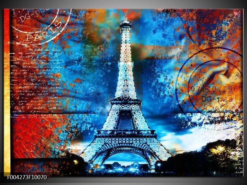 Foto canvas schilderij Modern | Rood, Blauw, Geel