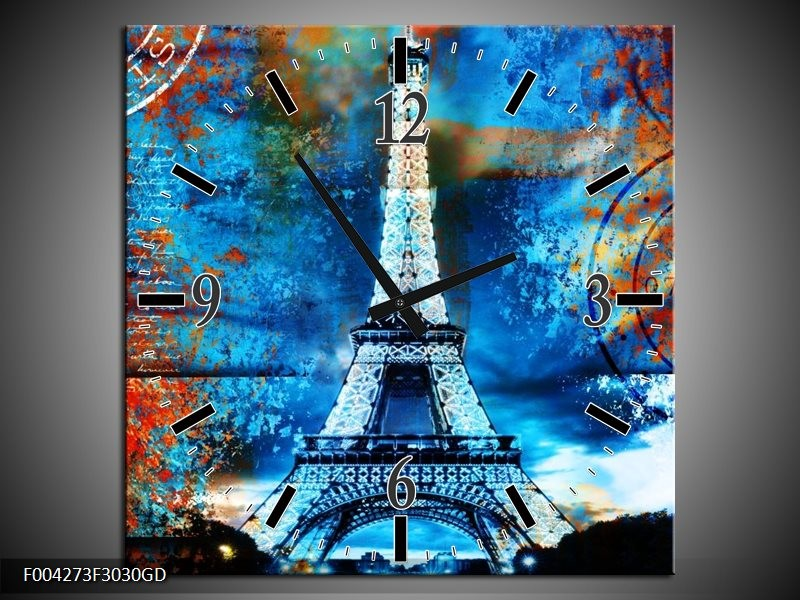 Wandklok op Glas Modern | Kleur: Rood, Blauw, Geel | F004273CGD