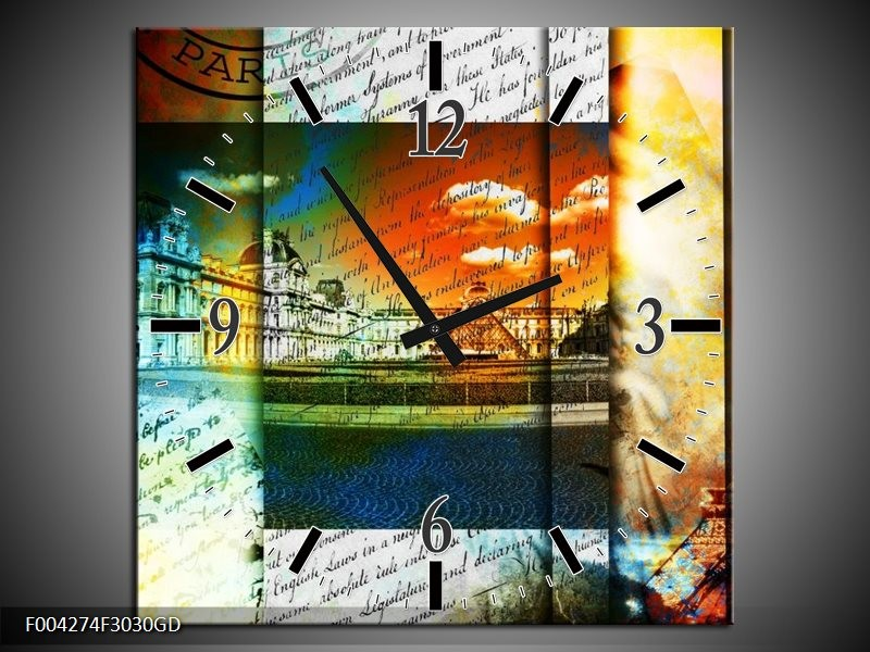 Wandklok op Glas Modern | Kleur: Geel, Blauw, Wit | F004274CGD