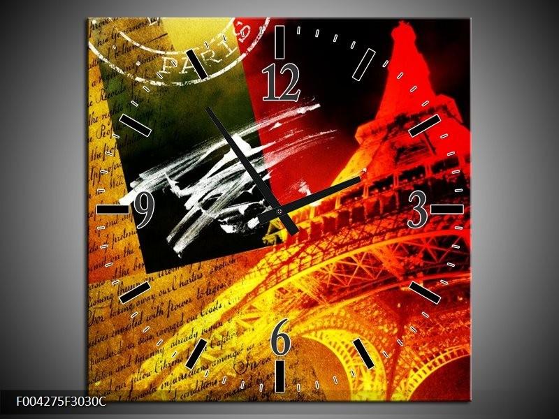 Wandklok op Canvas Modern | Kleur: Rood, Geel, Zwart | F004275C