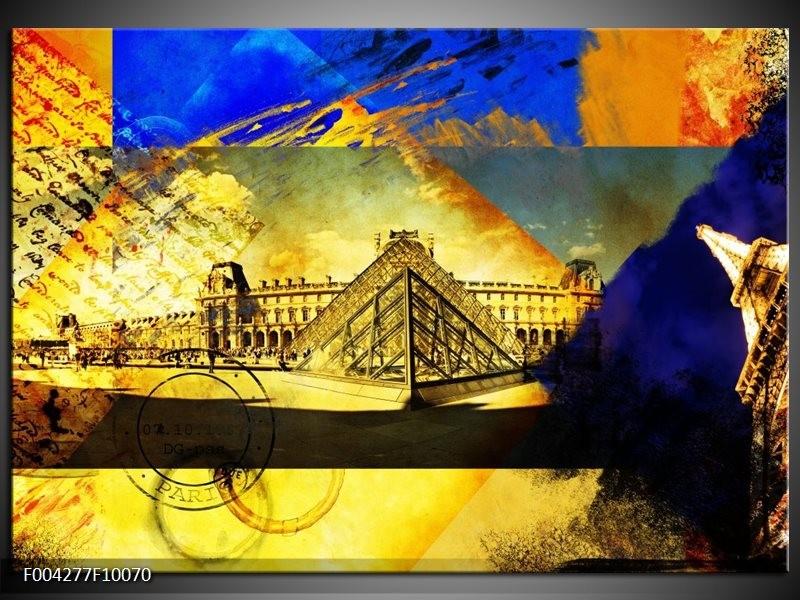 Glas schilderij Modern   Blauw, Geel, Grijs