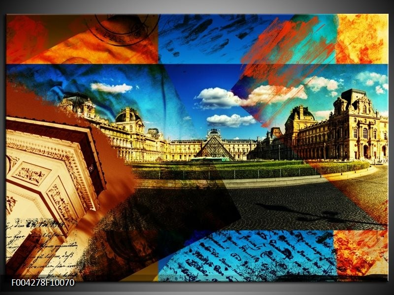 Foto canvas schilderij Modern | Blauw, Geel, Bruin