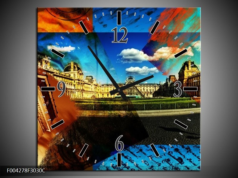 Wandklok op Canvas Modern | Kleur: Blauw, Geel, Bruin | F004278C