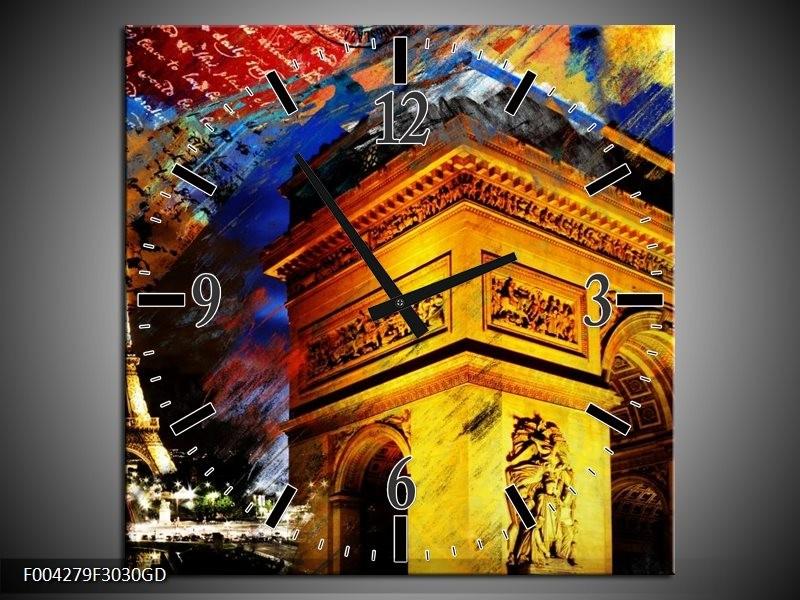 Wandklok op Glas Modern | Kleur: Geel, Blauw, Rood | F004279CGD