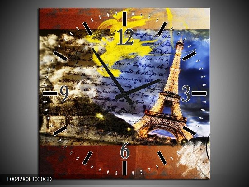 Wandklok op Glas Modern | Kleur: Geel, Blauw, Rood | F004280CGD