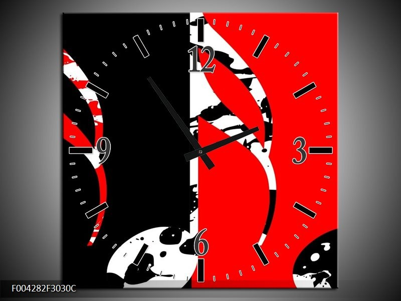 Wandklok op Canvas Muziek | Kleur: Rood, Zwart, Wit | F004282C
