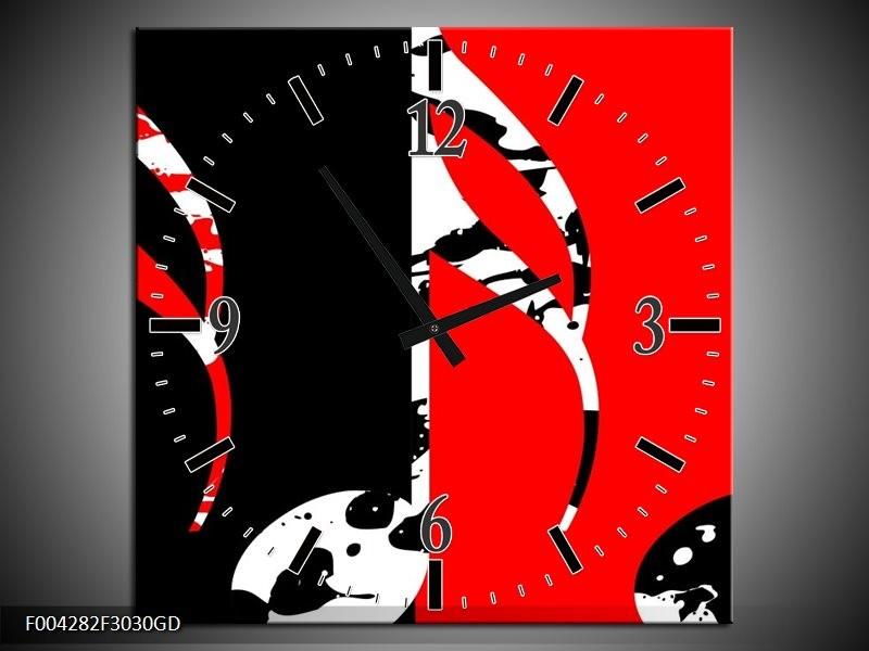 Wandklok op Glas Muziek | Kleur: Rood, Zwart, Wit | F004282CGD
