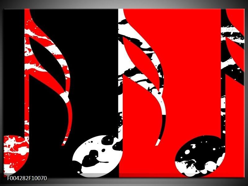 Glas schilderij Muziek | Rood, Zwart, Wit