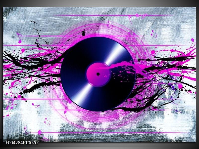 Foto canvas schilderij Muziek | Paars, Zwart, Grijs