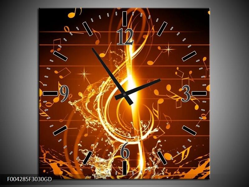 Wandklok op Glas Muziek | Kleur: Bruin, Geel, Zwart | F004285CGD