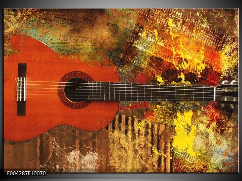 Glas schilderij Gitaar | Rood, Oranje, Geel