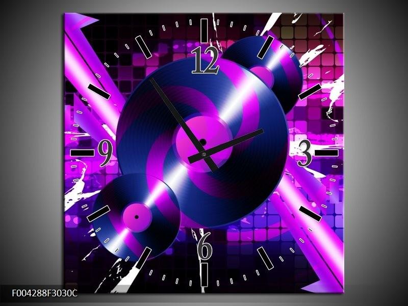 Wandklok op Canvas Muziek | Kleur: Paars, Roze, Zwart | F004288C