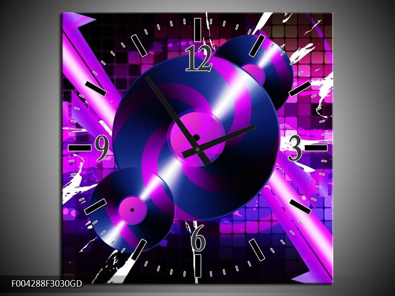 Wandklok op Glas Muziek | Kleur: Paars, Roze, Zwart | F004288CGD