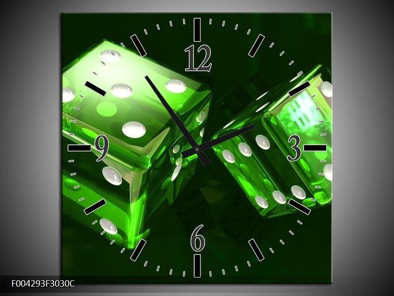 Wandklok op Canvas Spel | Kleur: Groen, Wit, Zwart | F004293C