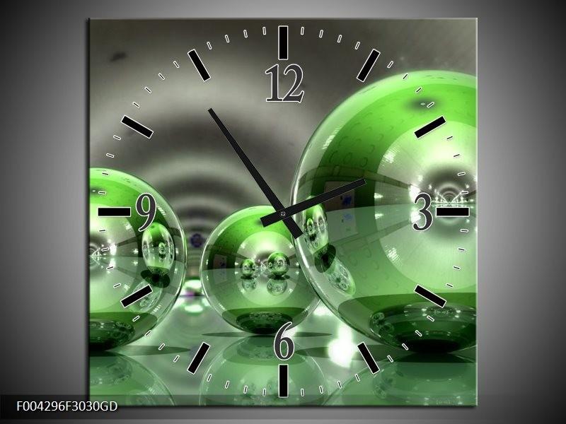 Wandklok op Glas Modern | Kleur: Groen, Wit | F004296CGD