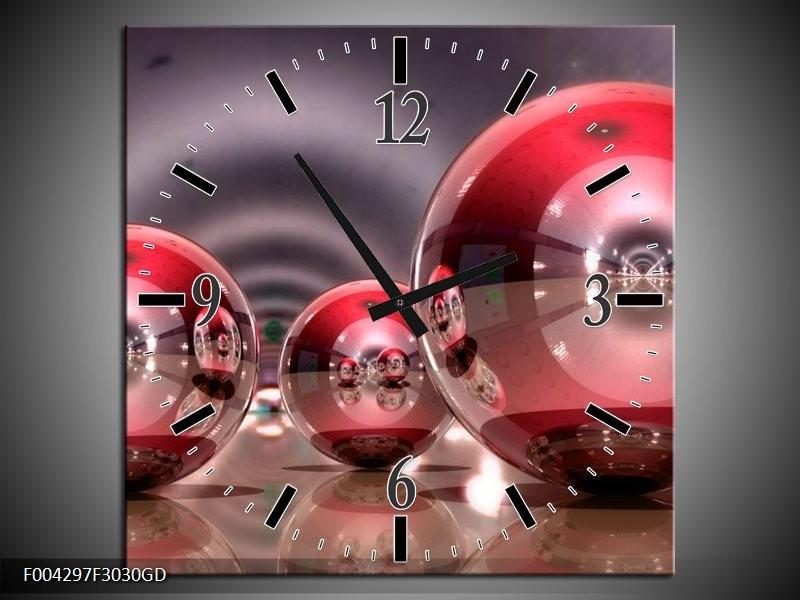 Wandklok op Glas Modern   Kleur: Rood, Grijs, Wit   F004297CGD