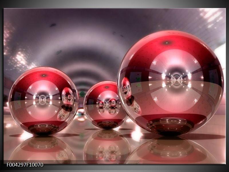 Glas schilderij Modern   Rood, Grijs, Wit