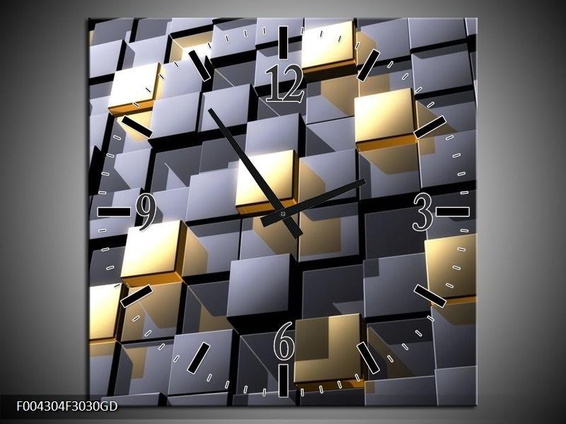 Wandklok op Glas Modern | Kleur: Grijs, Geel | F004304CGD
