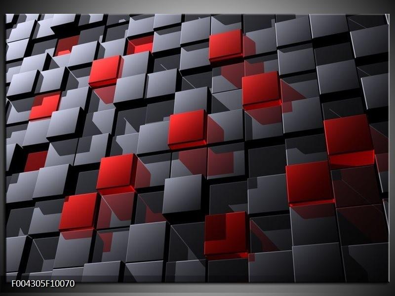 Foto canvas schilderij Modern | Grijs, Rood, Zwart