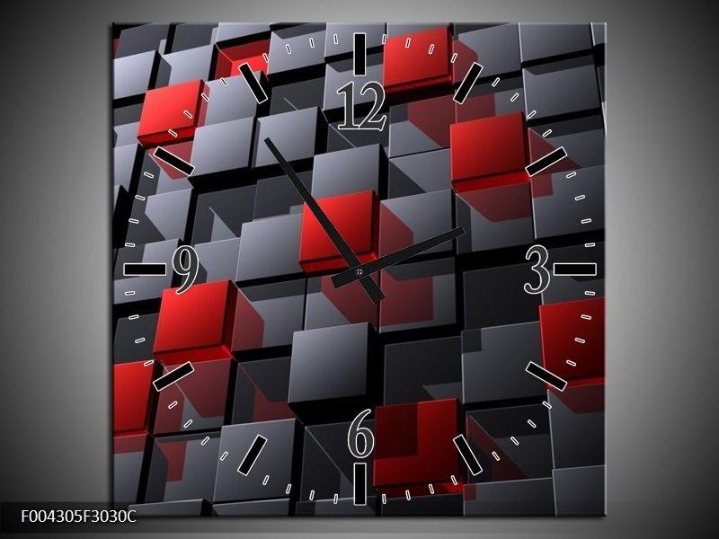 Wandklok op Canvas Modern   Kleur: Grijs, Rood, Zwart   F004305C