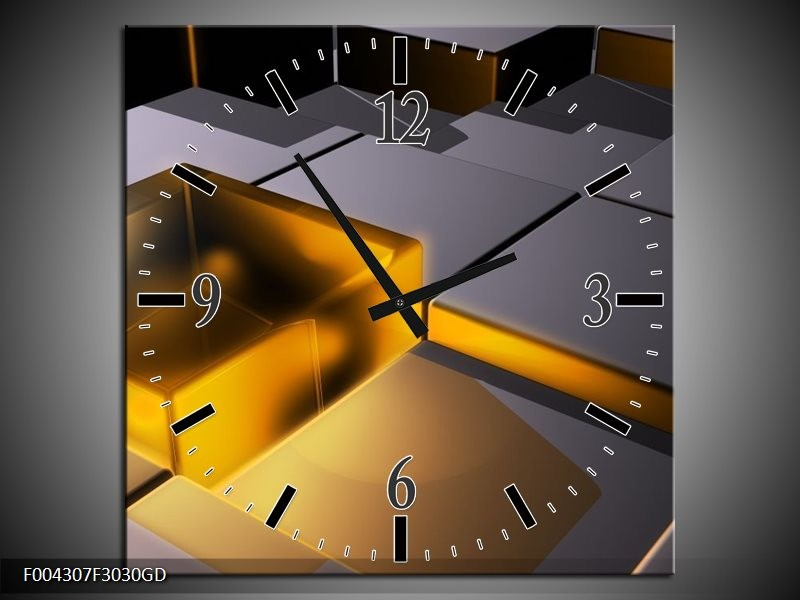 Wandklok op Glas Modern | Kleur: Geel, Grijs | F004307CGD