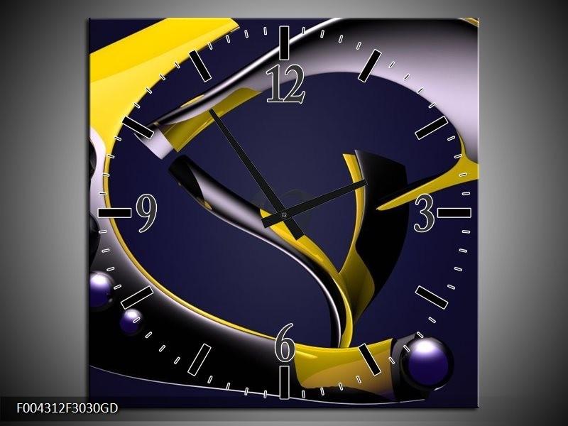 Wandklok op Glas Modern   Kleur: Geel, Grijs, Zwart   F004312CGD