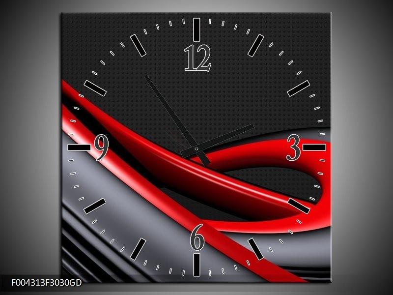 Wandklok op Glas Modern | Kleur: Rood, Grijs, Zwart | F004313CGD