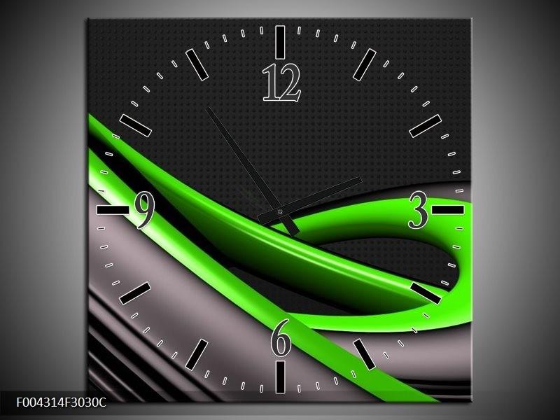 Wandklok op Canvas Modern   Kleur: Groen, Grijs, Zwart   F004314C