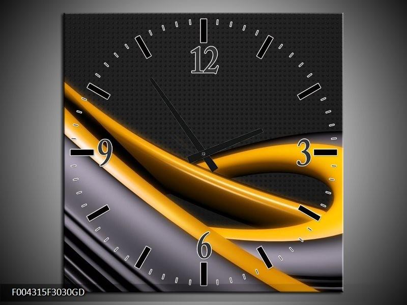 Wandklok op Glas Modern | Kleur: Geel, Grijs, Zwart | F004315CGD