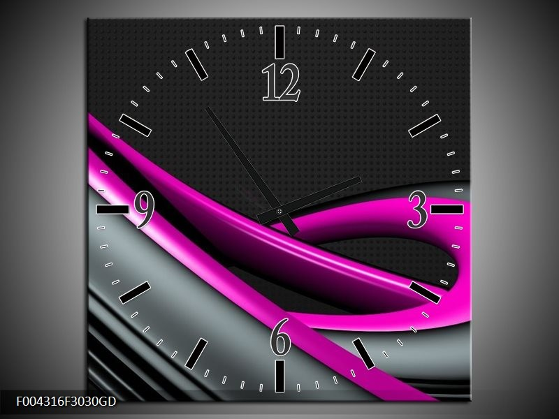 Wandklok op Glas Modern   Kleur: Roze, Grijs, Zwart   F004316CGD