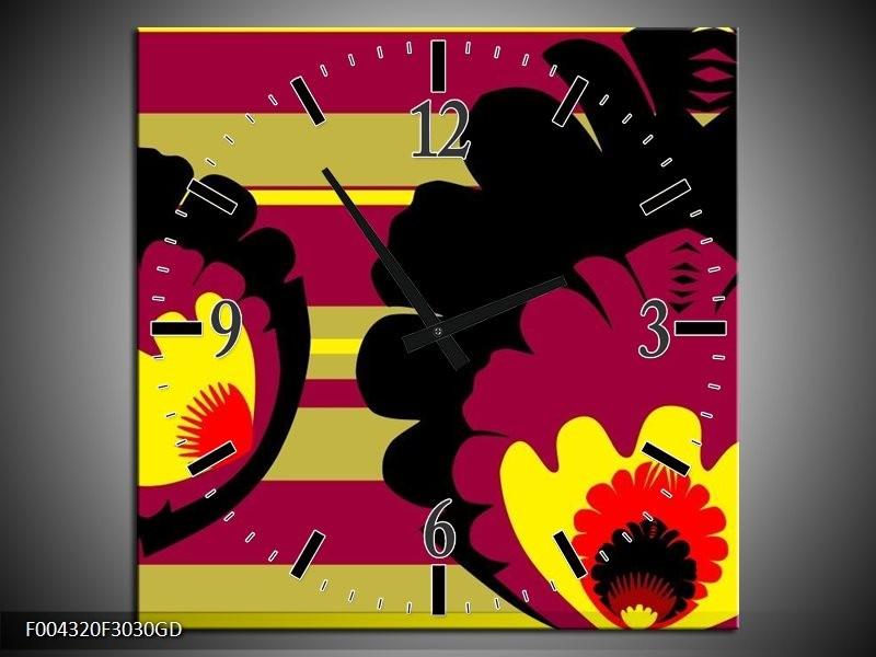 Wandklok op Glas Modern   Kleur: Geel, Zwart, Roze   F004320CGD