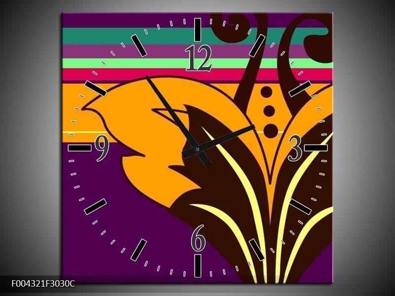 Wandklok op Canvas Modern | Kleur: Paars, Geel, Oranje | F004321C