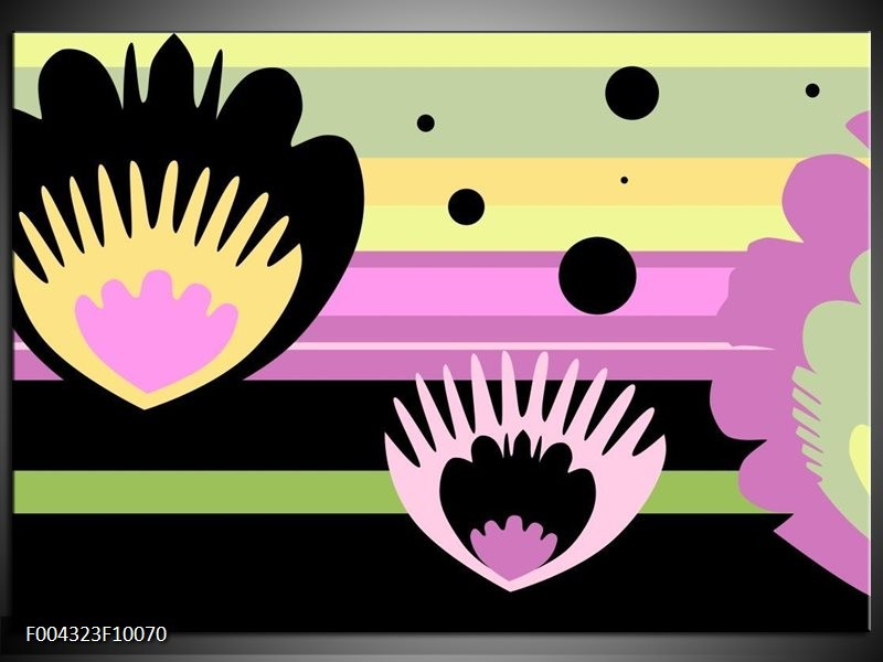 Glas schilderij Modern | Zwart, Paars, Groen