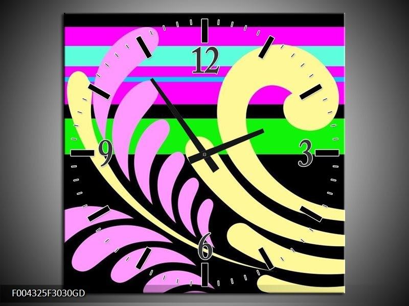 Wandklok op Glas Abstract   Kleur: Paars, Geel, Groen   F004325CGD