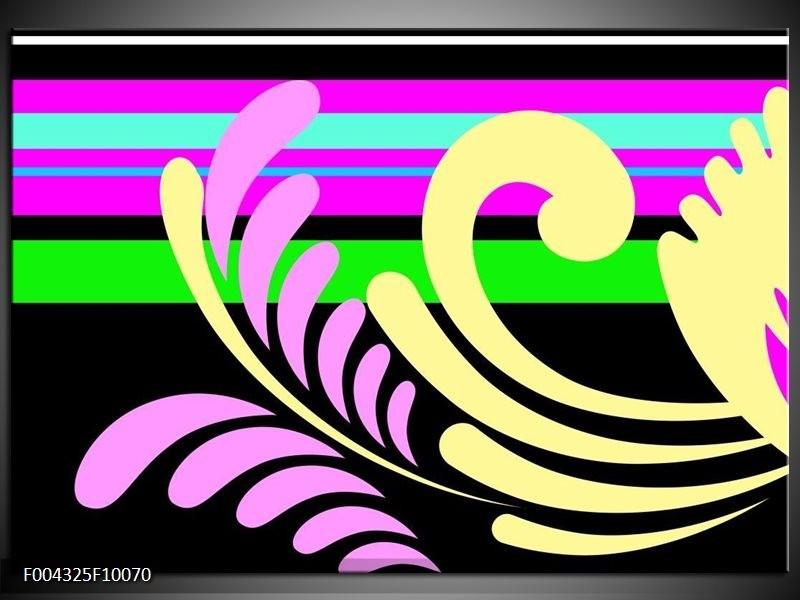 Glas schilderij Abstract | Paars, Geel, Groen