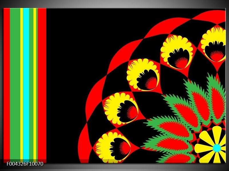 Foto canvas schilderij Abstract | Zwart, Rood, Geel