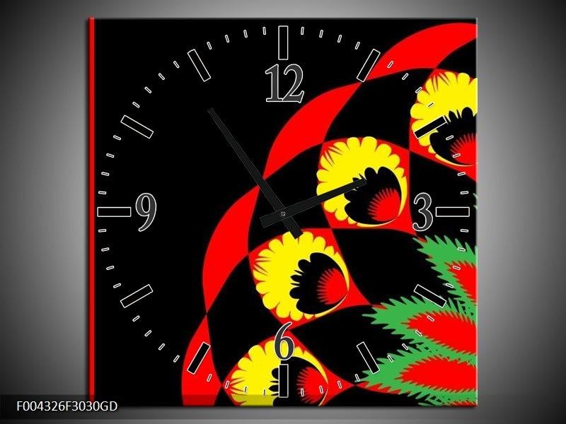 Wandklok op Glas Abstract | Kleur: Zwart, Rood, Geel | F004326CGD