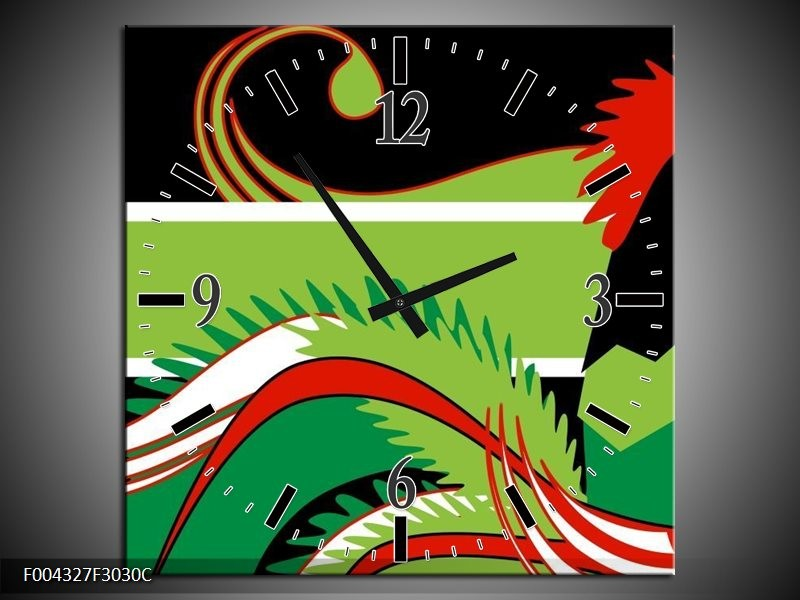 Wandklok op Canvas Abstract   Kleur: Groen, Rood, Wit   F004327C