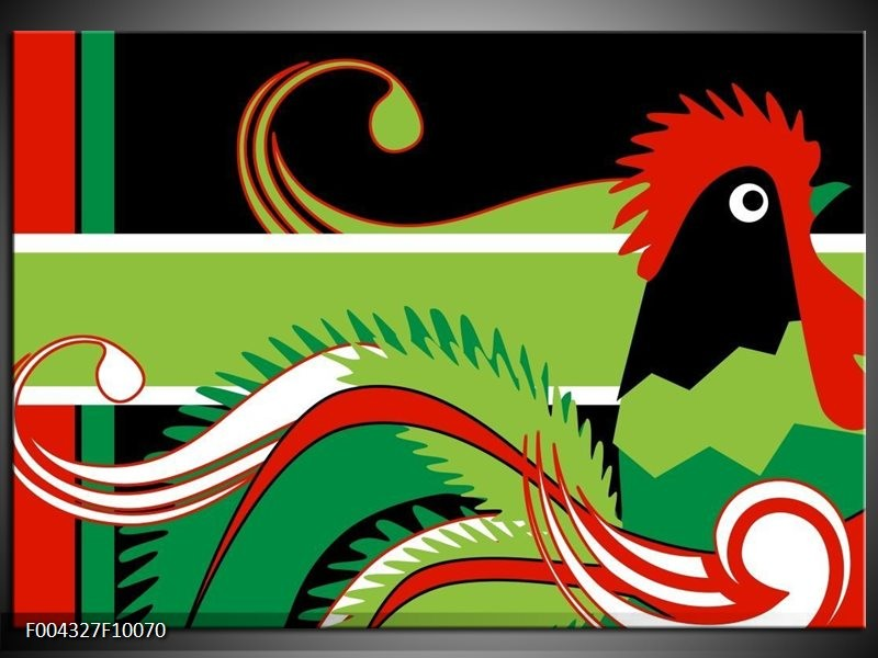 Glas schilderij Abstract | Groen, Rood, Wit