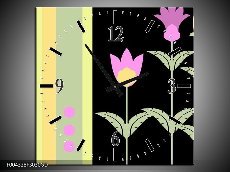 Wandklok op Glas Abstract | Kleur: Paars, Geel, Zwart | F004328CGD