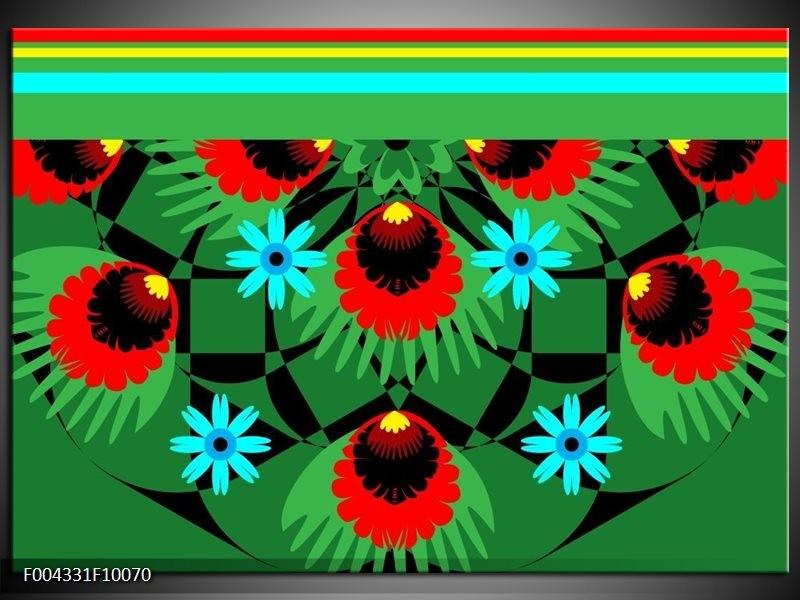 Glas schilderij Abstract   Groen, Rood, Blauw