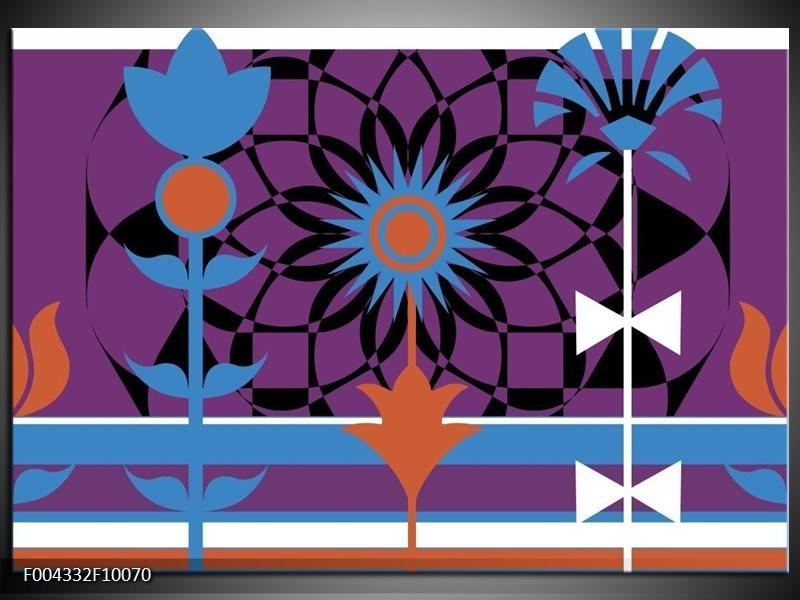 Foto canvas schilderij Abstract | Paars, Zwart, Wit