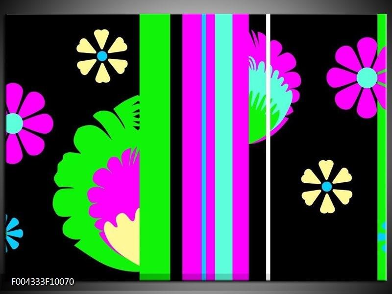 Foto canvas schilderij Abstract | Groen, Zwart, Grijs