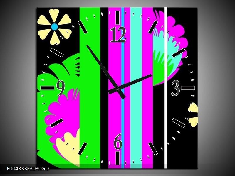 Wandklok op Glas Abstract | Kleur: Groen, Zwart, Grijs | F004333CGD