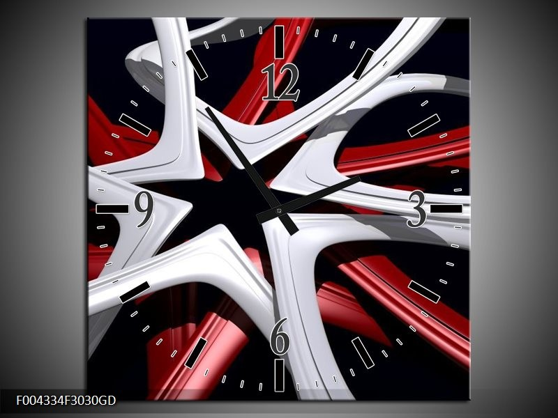 Wandklok op Glas Design | Kleur: Rood, Grijs, Zwart | F004334CGD