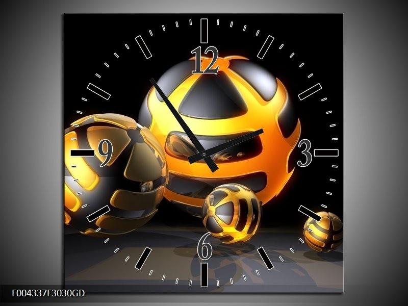 Wandklok op Glas Design   Kleur: Oranje, Grijs, Zwart   F004337CGD