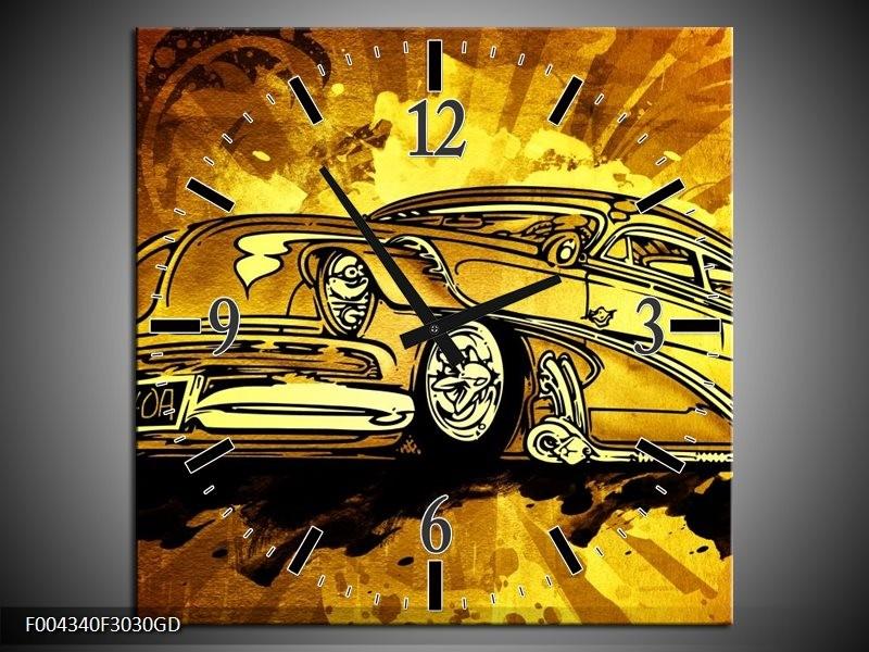 Wandklok op Glas Oldtimer | Kleur: Geel, Zwart, Goud | F004340CGD