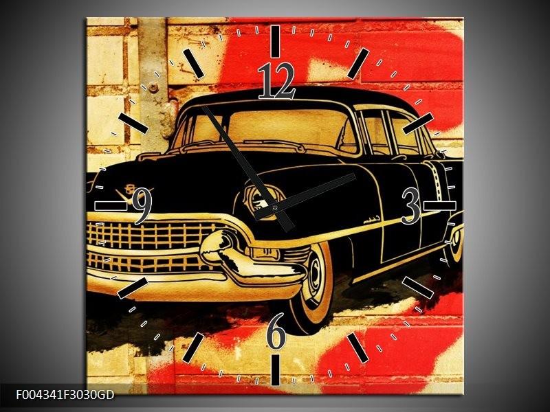 Wandklok op Glas Oldtimer   Kleur: Zwart, Rood, Geel   F004341CGD