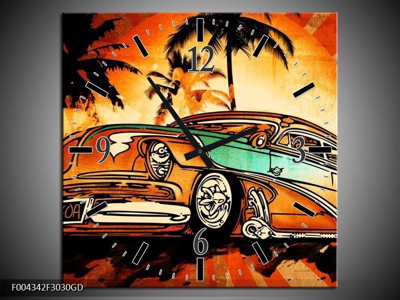 Wandklok op Glas Oldtimer   Kleur: Geel, Oranje, Bruin   F004342CGD