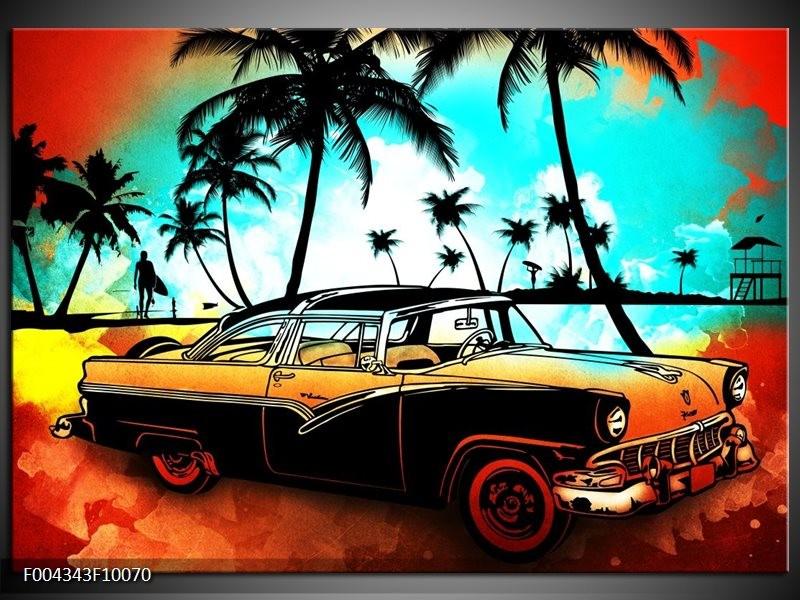 Foto canvas schilderij Oldtimer | Blauw, Geel, Rood